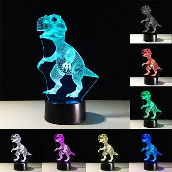 цена Dinosaur 3D Table Luminaire LED Night Lights Novelty Lights 7 Colors Change Atmosphere Lamp Baby Sleeping Desk Lamp Birthday Gif онлайн в 2017 году