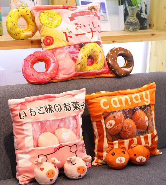 1pc 40cm cartoon doughnut Rilakkuma bear pig plush pillow cushion eight little round doll stuffed toy girl boy creative gift