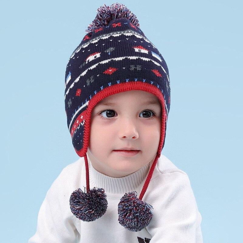Winter Baby Hüte Für Mädchen Gestrickte Warme Kappe Kinder Mode Stricken Ohr Schutz Kappe Kinder Gestrickte Thermische Hut Nur B-9490 Ohne RüCkgabe