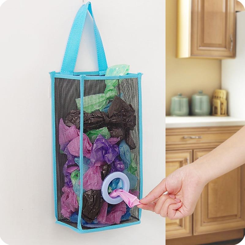 Useful Fashion Hanging Breathable Plastic Grid Garbage Bag Socks Sundries Storage Organizers Kitchen Bathroom Storage Bag.