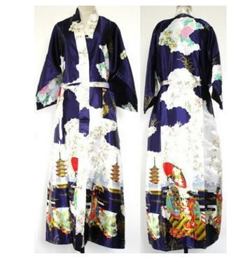 Продвижение темно-синий китайских женские шелковые пижамы новинка кимоно одеяние платье цветочный ночная рубашка размер sml XL XXL XXXL WS09-A