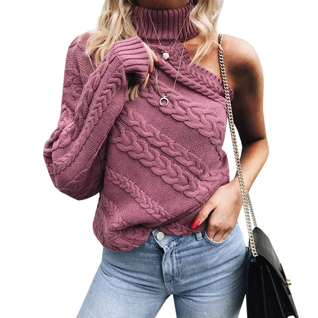 cf3b5961778 Autumn Thick Turtleneck Warm Winter Sexy Turtle Neck Twist Knitted Sweaters  Women Long Sleeve Off Shoulder Sweater Femme