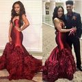 Cheap Evening Gowns Dresses Sweetheart Neckline Sheer Ruffle Tiered Wine Red Satin Prom Dresses Arabic 2017