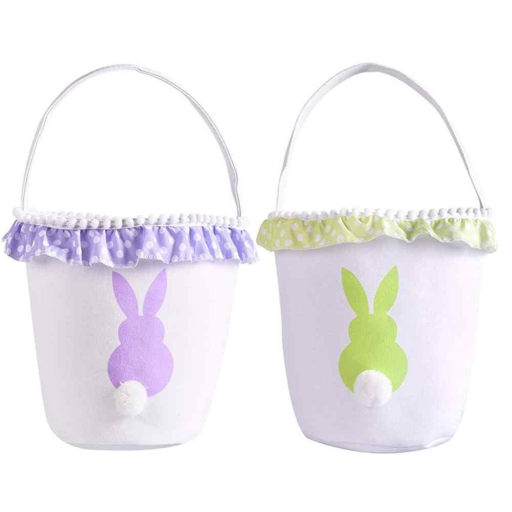 Cesta coelho Saco de Lona de Algodão Personalidade Coelho Cauda Macia Bolsa de Alta Qualidade Feito Sacos para Crianças Coelho Coelhinho Da Páscoa 5pz