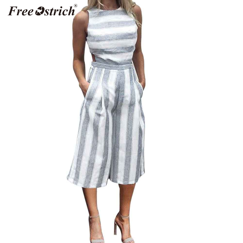 Free Ostrich Jumpsuits For Women 2019 Sleeveless Striped Jumpsuit Casual Clubwear With Wide Legs Overalls Combinaison Femme N30
