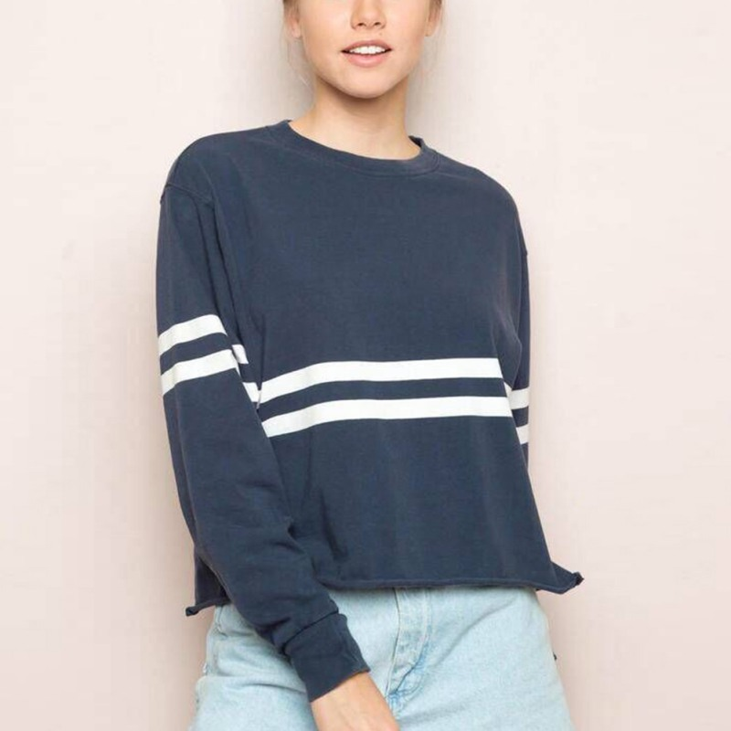c05578121dc Aliexpress.com   Buy Striped Print Women Colorblock Athletics Sweatshirts  Casual Sporting Sweatshirt Fall Long Sleeve Crop Top Cropped Pullover 3164  from ...