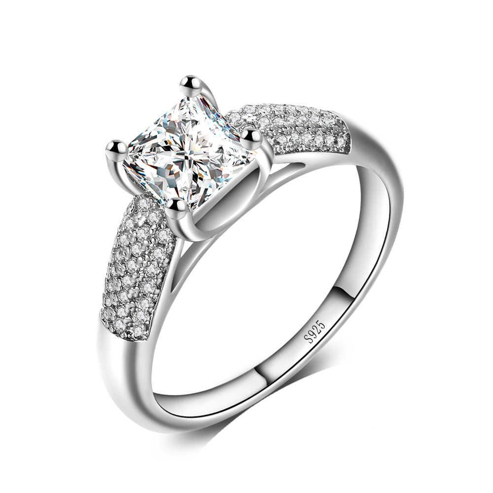 2018 แฟชั่น 4 แถว AAA CZ งานแต่งงานแหวนขนาดใหญ่สแควร์ Cubic Zirconia สำหรับผู้หญิงแหวน Plata เครื่องประดับ