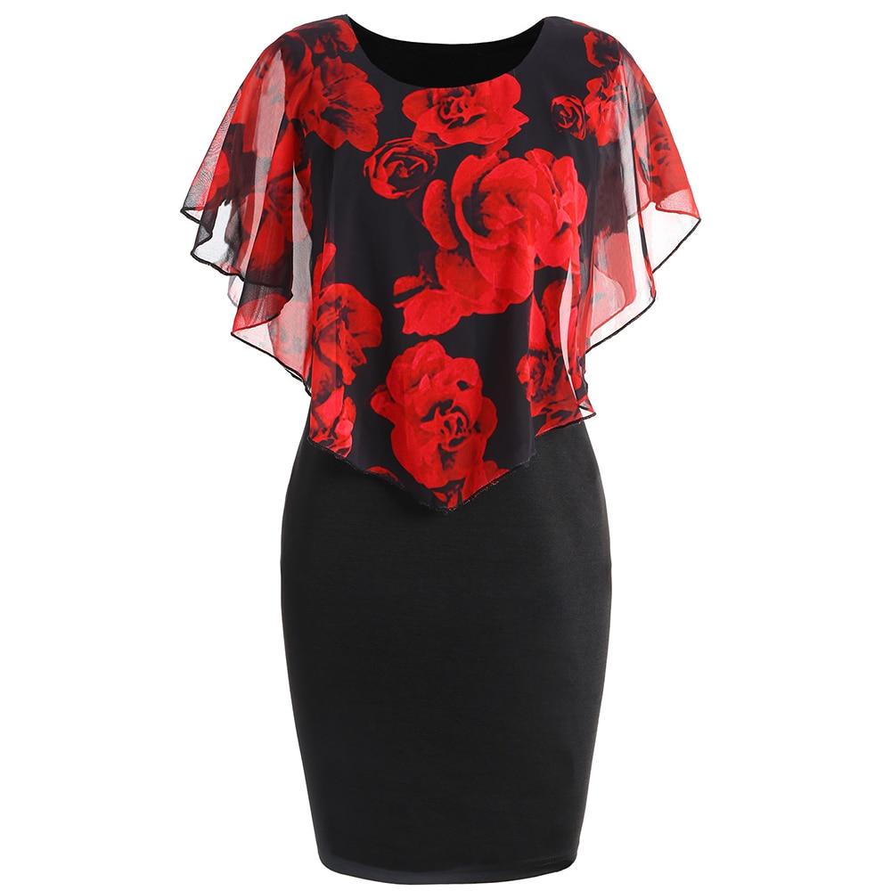 Wipalo Women Summer Dress Plus Size 5XL Rose Valentine Overlay Capelet Clothing Chiffon Elegant Midi Party Pencil Dress Vestidos