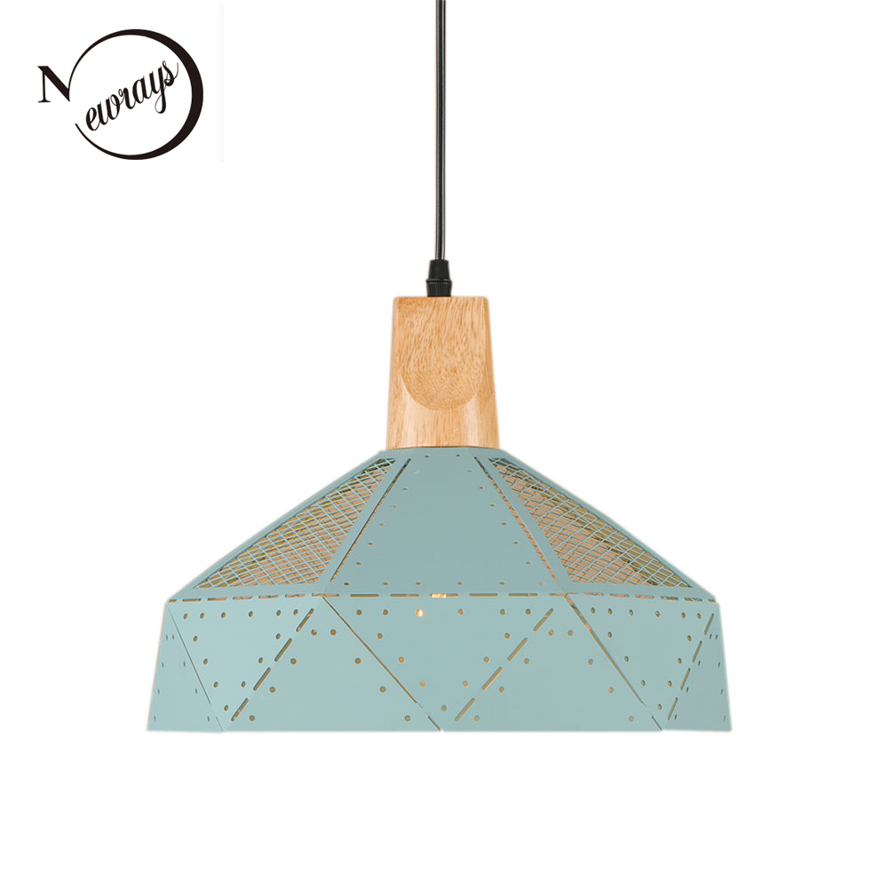 Industrial Country Iron Wooden Pendant Light LED E27 Modern Simple Hanging Lamp With 7 Colors For Living Room Dining Room Parlor