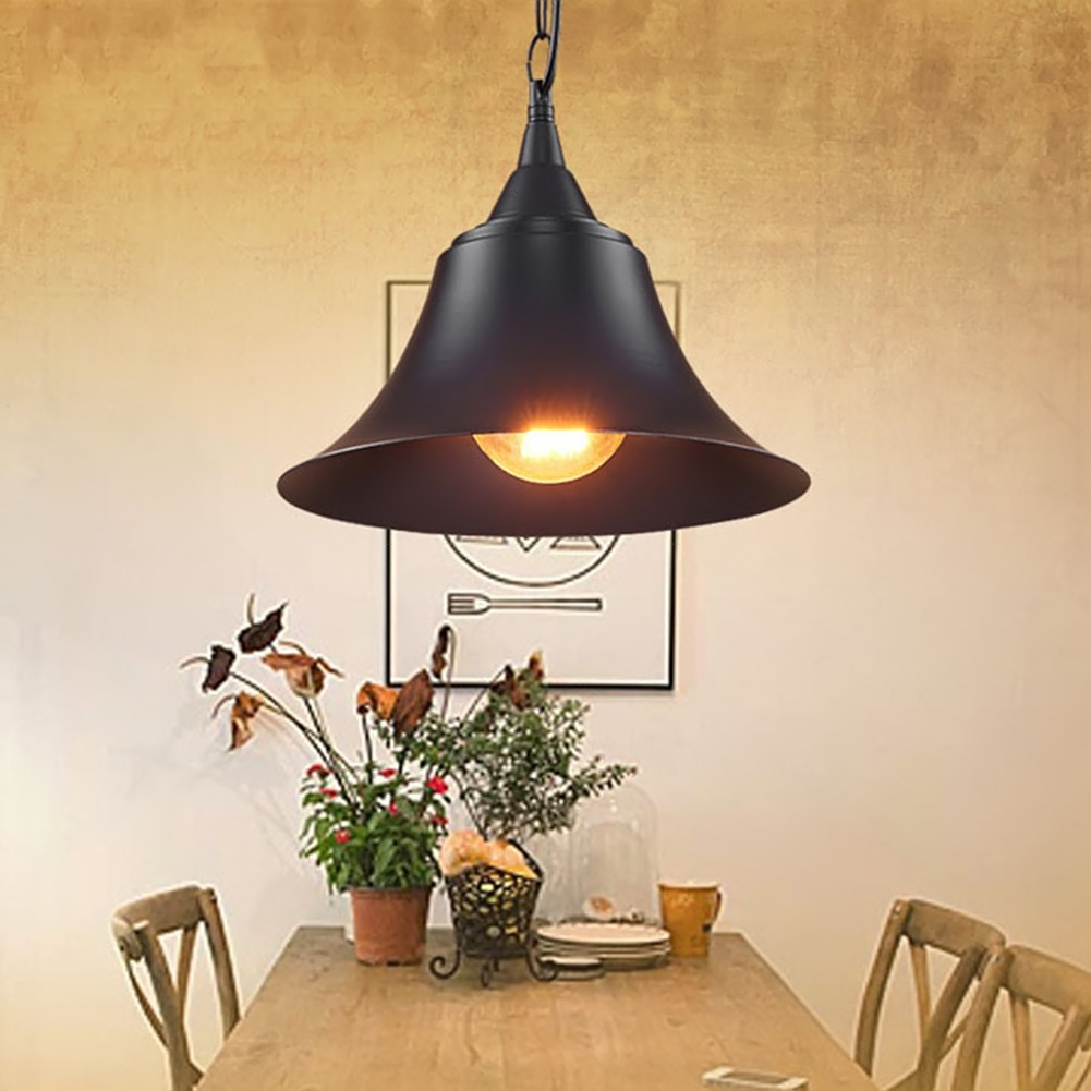 American Industrial Retro Pendant Lamp Black Iron Lampshade Abajur Home Light Bedroom Kitchen Dining Room Hanging Lamp Light black iron lampshade abajur diameter 38cm big home light dining room kitchen pendant light pendant lamp e27 e26 bulb fitting