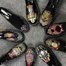 Beijing Handmade Cloth Shoes Personality Face Embroidery Peas Men's