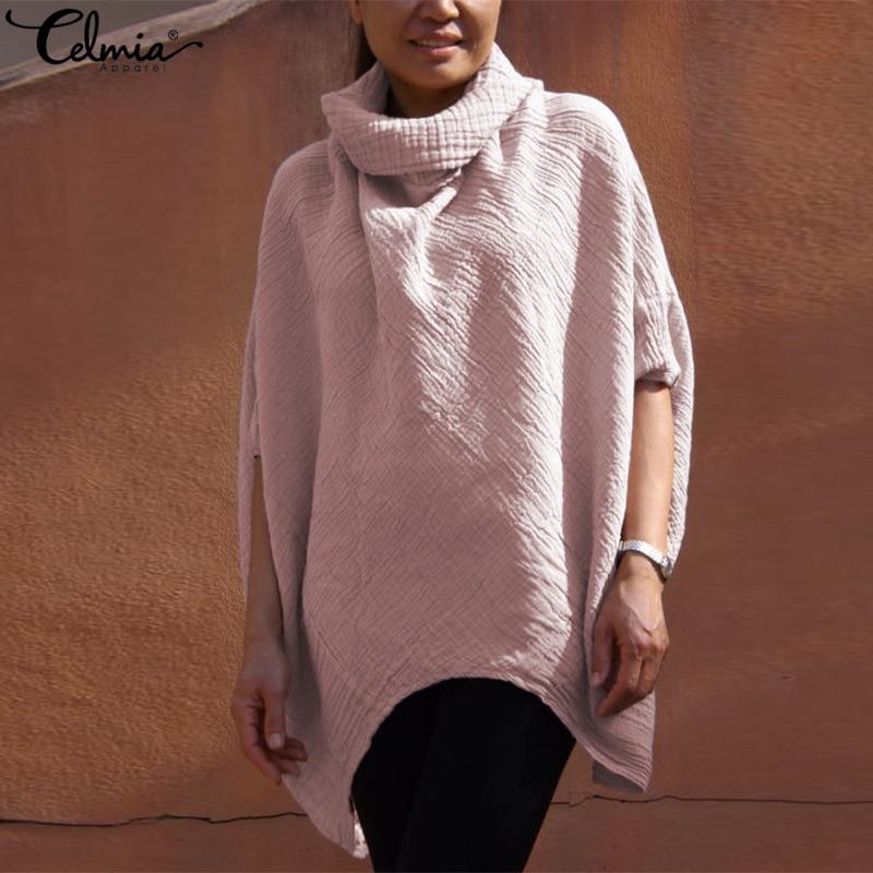 Suelto De rosado Sólido Tops Algodón Casual Camisas Mujeres Negro Asimétrica azul blanco Otoño Gran claret Manga Murciélago Cuello 2019 Blusa Tamaño Celmia Plus TRFq7RPX