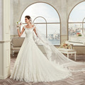 FF2001 New Attractive Scoop Neck Lace Appliques Tulle Wedding Dress 2017