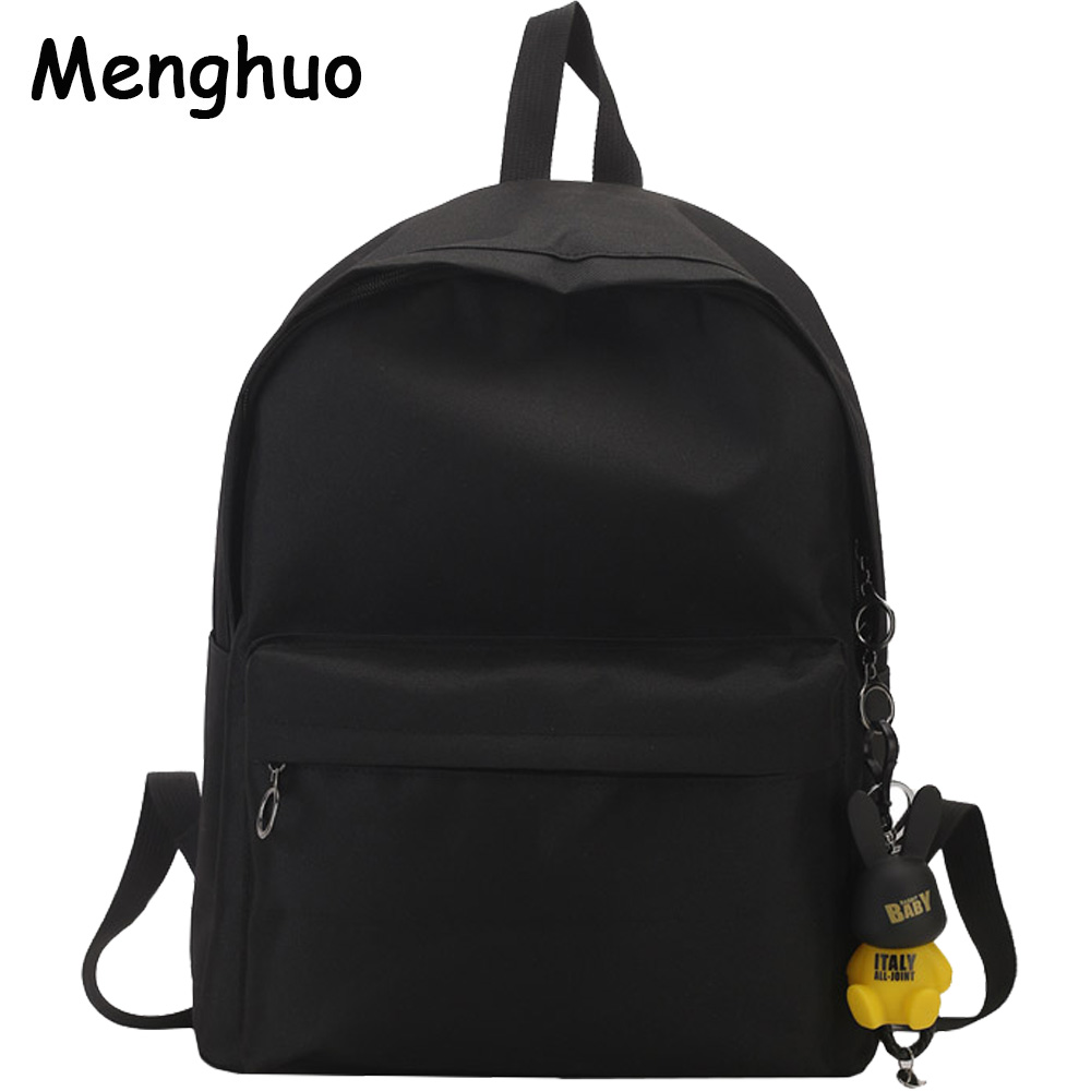 Menghuo Brand Canvas Men Women Backpack Rabbit Pendant College High Middle School Bags for Teenager Boy Girls Backpacks Mochila augur canvas men women backpack college high middle school bags for teenager boy girls laptop travel backpacks mochila rucksacks