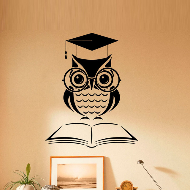ZOOYOO Cartoon Owl Book Wall Sticker Home Decor Removable Waterproof ...