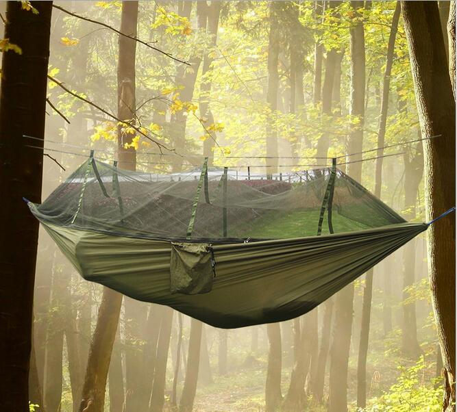 Outdoor parachute cloth hammock nets double air tent with military regulations