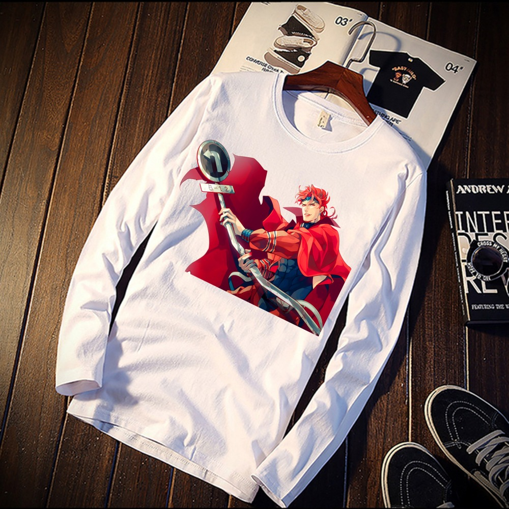 2018 Pure Cotton TShirt Funny Dio Brando JoJo Anime Art Printed Long Sleeve Fashion Casual Tops & Tees Brand Unisex Clothing