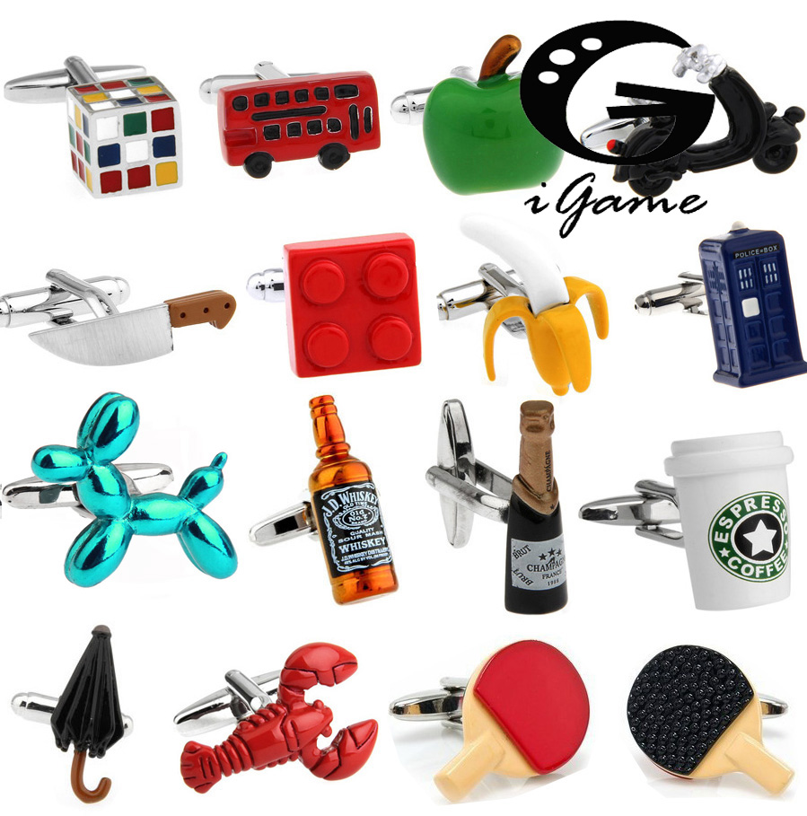 Factory Retail Novelty Cufflinks 18 Designs Option Police box/ Whiskey/ Coffee Cup/ Beer Cap/Cube/ Chaplin Design Cuff Links