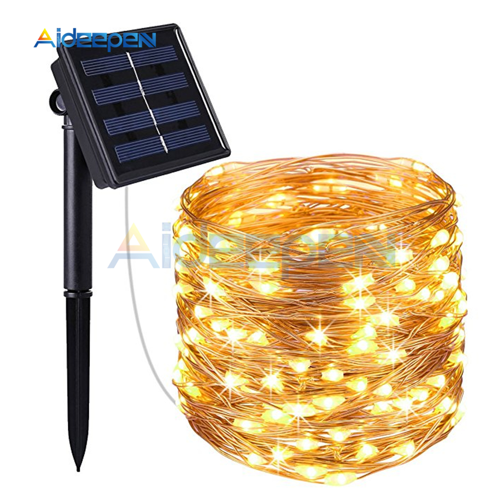 Outdoor Solar Powered Copper Wire LED String Lights 10M Waterproof Fairy Light for Christmas Holiday Home Garden Decoration