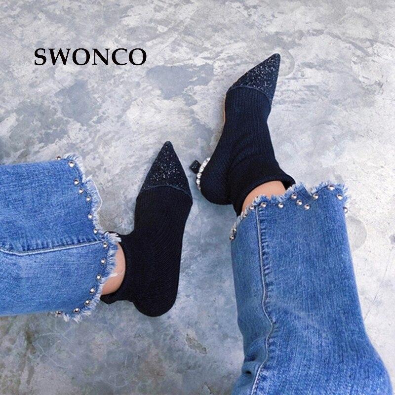 Manera Arranque De Otoño Zapatos Las Puntiagudo Para Tobillo Mujer Rhinestone Calcetín Señoras Negro Talón Black La Pie Del grey Dedo Swonco 2018 Mujeres q8gxwC