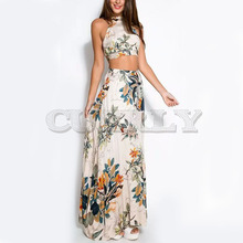 Cuerly 2019 Fashion 2 Piece Set Party Sexy Beach Women Dresses Lady Print Floral Cross Backless Summer Long Dress