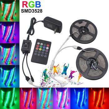 5M 10M LED Strip Light Flexible RGB LED Strips SMD 5050 2835 DC12V Adapter Diode Tape tira LED Ribbon Music Controller Full Set