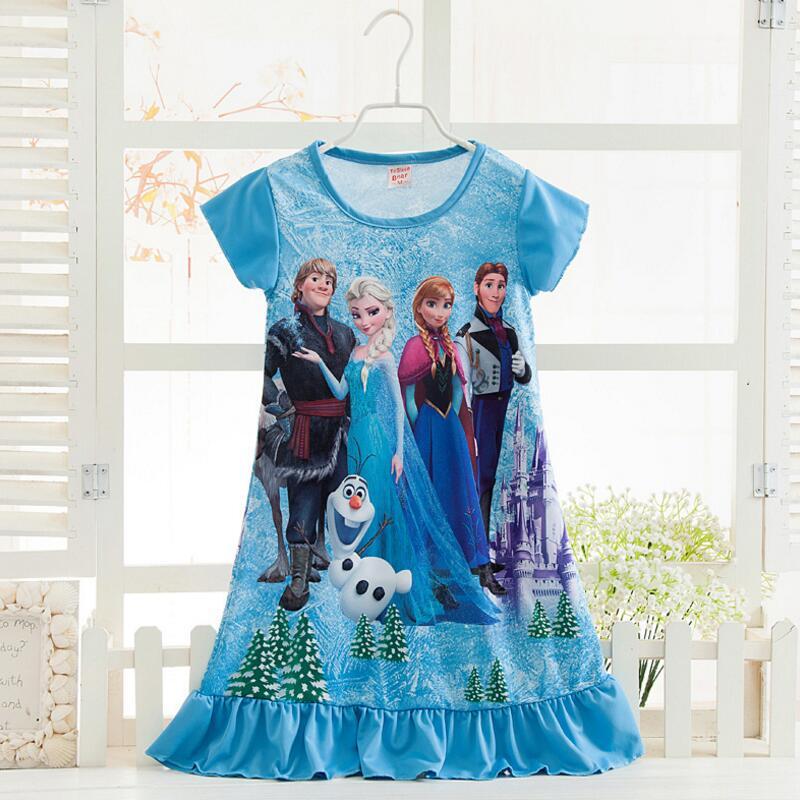 Elsa Anna Sofia princess dress Summer girls dress nightgown kids dresses night gown Pajamas dress Sleepwear
