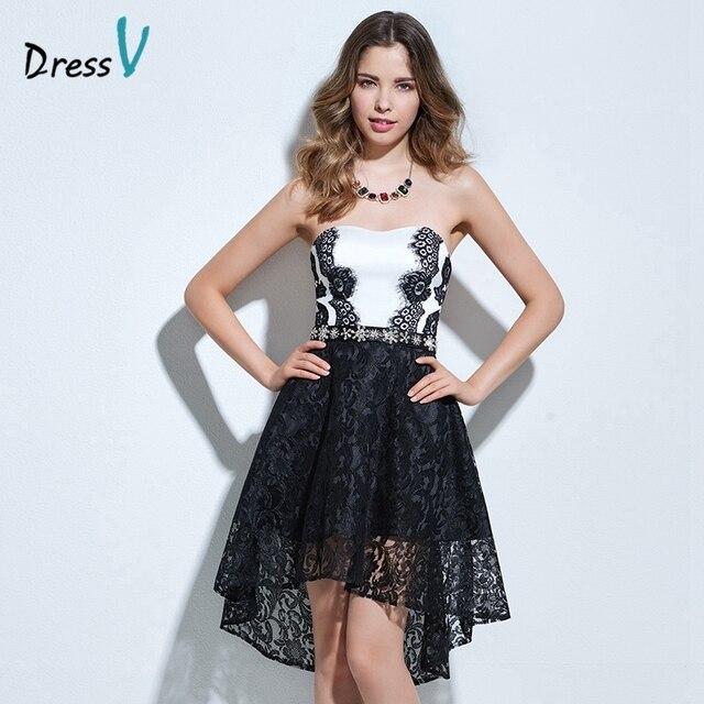 5a770541b7f Dressv bretelles A-ligne robe de cocktail noir et blanc perles dentelle  haut bas robe