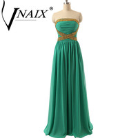 BW502 New Arrival A Line Strapless Off The Shoulder Bridesmaid Dresses Elegant Gold Sequined Green Long Party Dress 2017