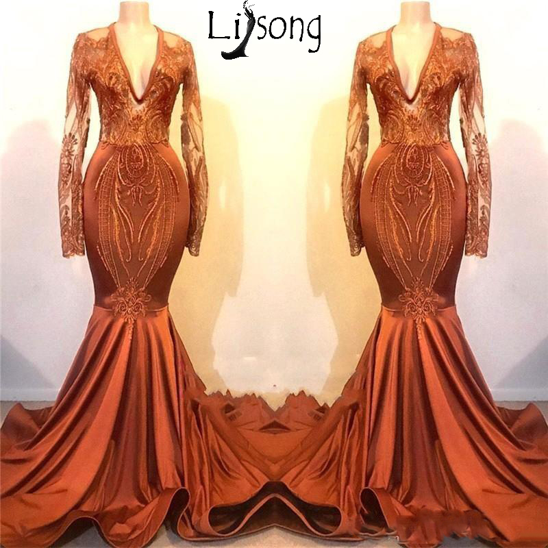 V Neck Sheer Long Sleeves   Prom     Dresses   2019 Lace Appliques Mermaid Evening Gowns Stretch Satin Cheap Formal Party   Dress