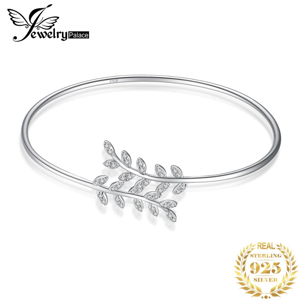 JewelryPalace Trendy Leaf 1.2ct Cubic Zirconia Adjustable Cuff Bracelet Charm 925 Sterling Silver Bangles For Women Fine JewelryJewelryPalace Trendy Leaf 1.2ct Cubic Zirconia Adjustable Cuff Bracelet Charm 925 Sterling Silver Bangles For Women Fine Jewelry