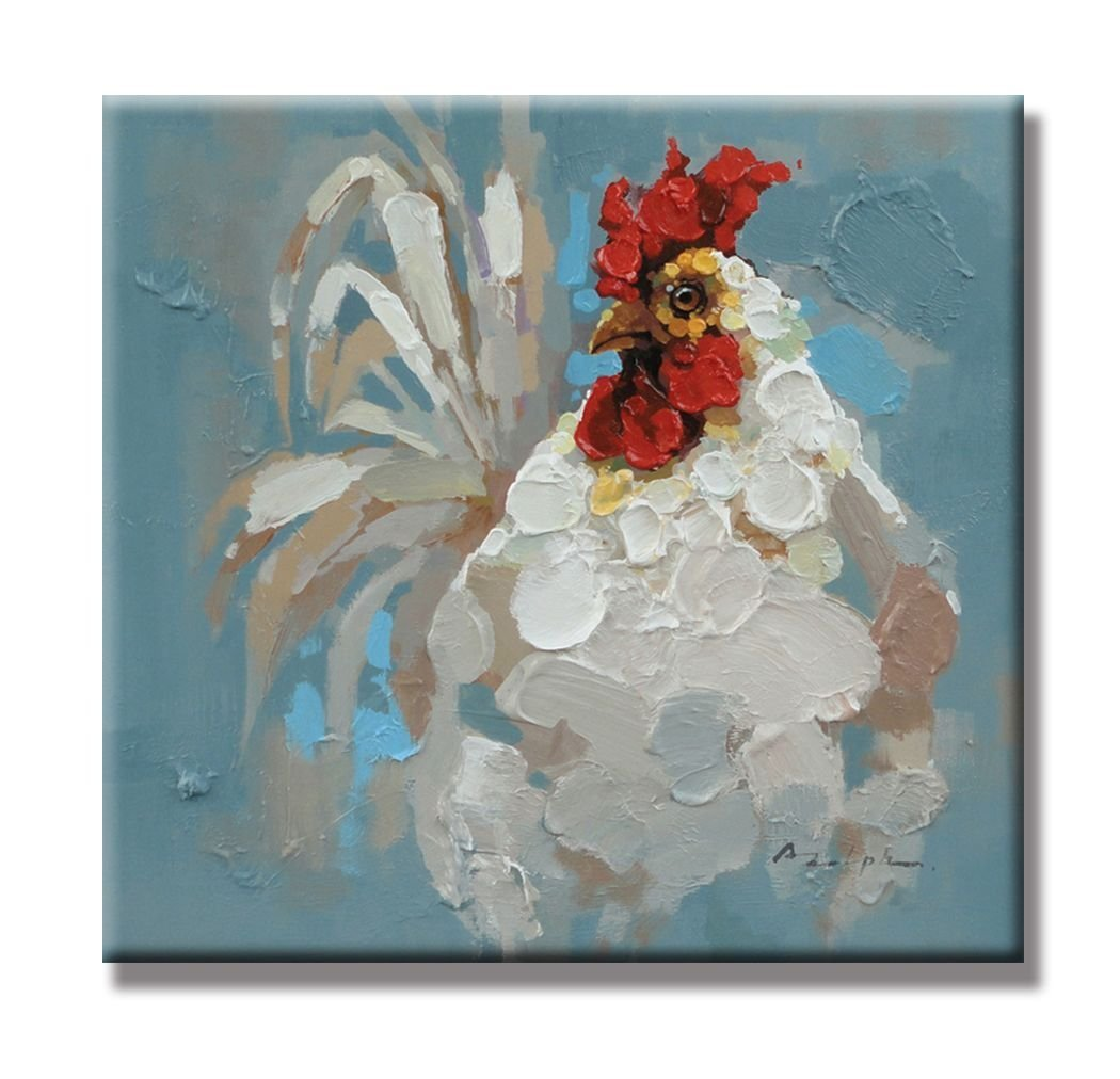 The white cock the rooster animals paintings 100 for What is canvas painting