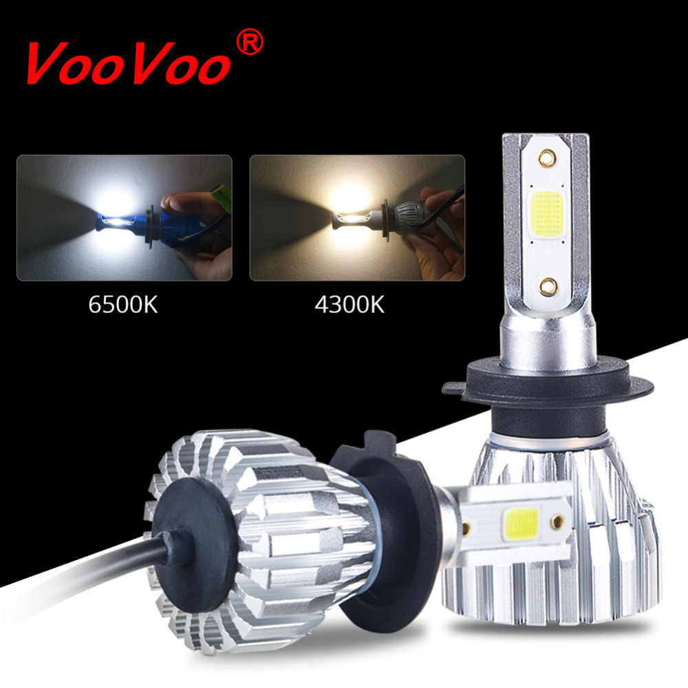 VooVoo 2Pcs Fanless H7 H1 Led H3 H4 H11 9005 9006 9012 HIR2 6500K 4300K Mini Car Headlight Bulbs 50W 5000LM Auto Headlamp Lights