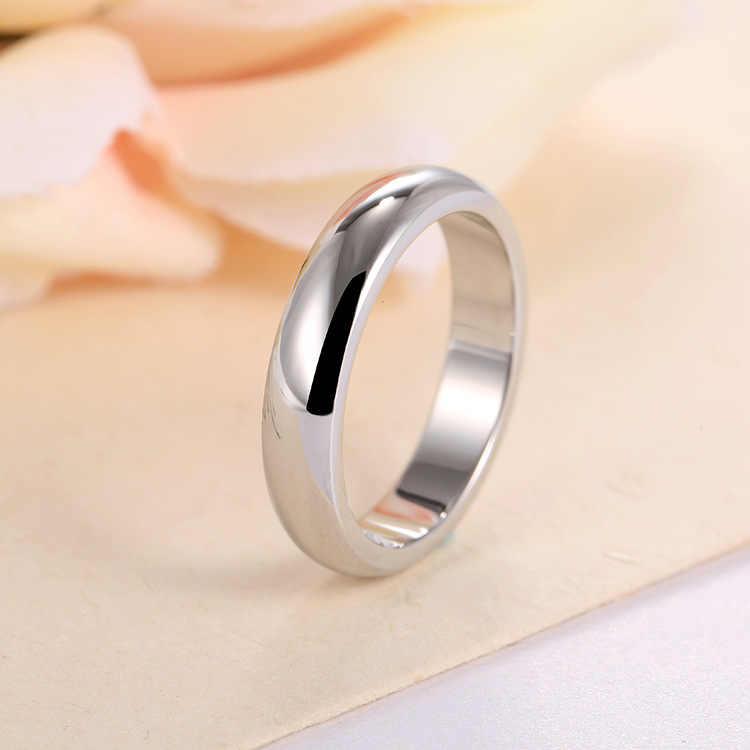 Wysokiej jakości 4mm hurtownia prosty pierścień moda pierścionek z różowego złota męska i damska ekskluzywna para obrączka