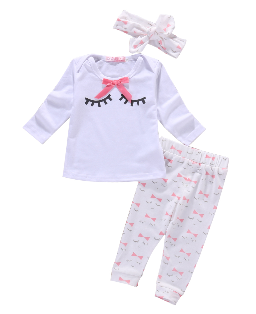 Toddle Baby girl clothes Spring Newborn Baby Girl Clothing Sets 3pcs suits (Top+ Pants+Headband) Infant girls outfits
