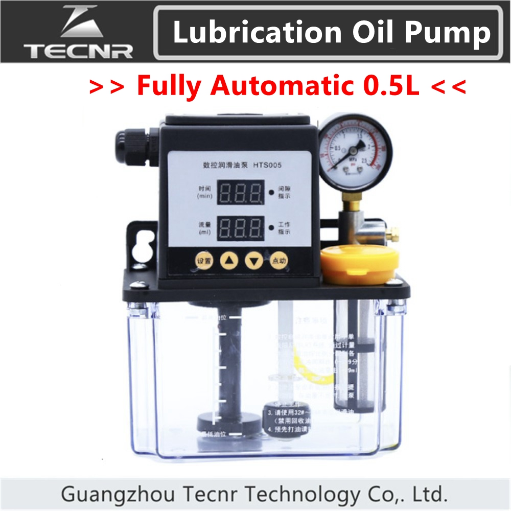 TECNR Fully Automatic Lubricating Oil Pump 0.5L Liters Cnc Electromagnetic Lubrication Pump Lubricator HTS005