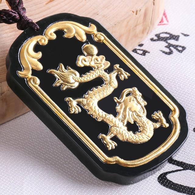 Hetian Jade Good Luck Top Quality Men Women Necklaces Hetian jade pendant of gold Moyu Golden Dragon Pendant 8682