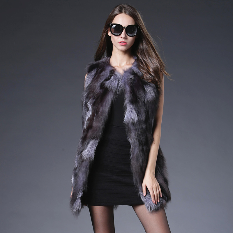 2018 Limited Long Real Fur Fashion Spring Genuine Natural Sliver Fox Fur Vest Women Luxurious Coat Jacket Outerwear Real Gilets