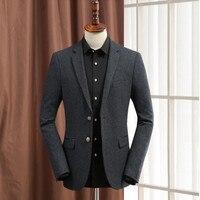 Темно серые костюмы мужские куртка шерсть смешивается деловые костюмы куртка согреться Свадебные Жених платье куртка