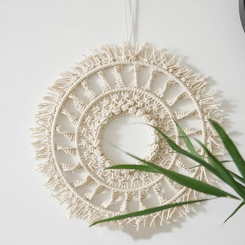 Diameter 38cm Bohemia Macrame hand-woven simple home hang - up living room wall hanging decorations