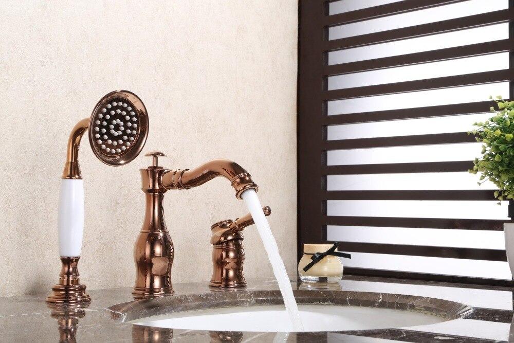 Oro rosa Bagno In Ottone rubinetto Del Bacino Vasca da bagno Rubinetto con Pull Out Doccia Miscelatore Rubinetti