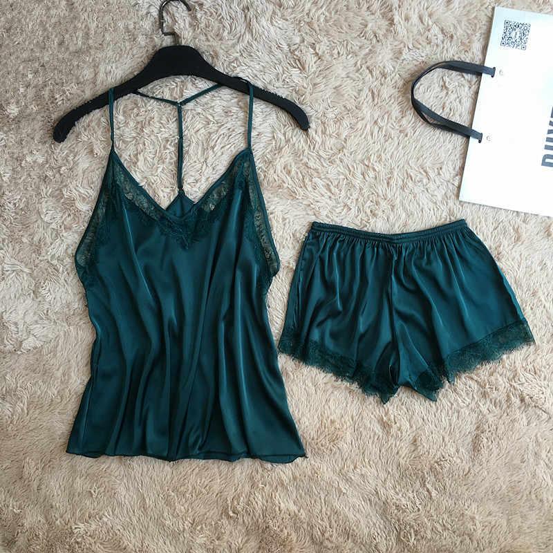 Новое поступление, пикантное для молодых девушек, атласные и кружевные пижамные комплекты, летние женские тонкие стильные мягкие топы на тонких бретельках + короткие штаны, хит продаж