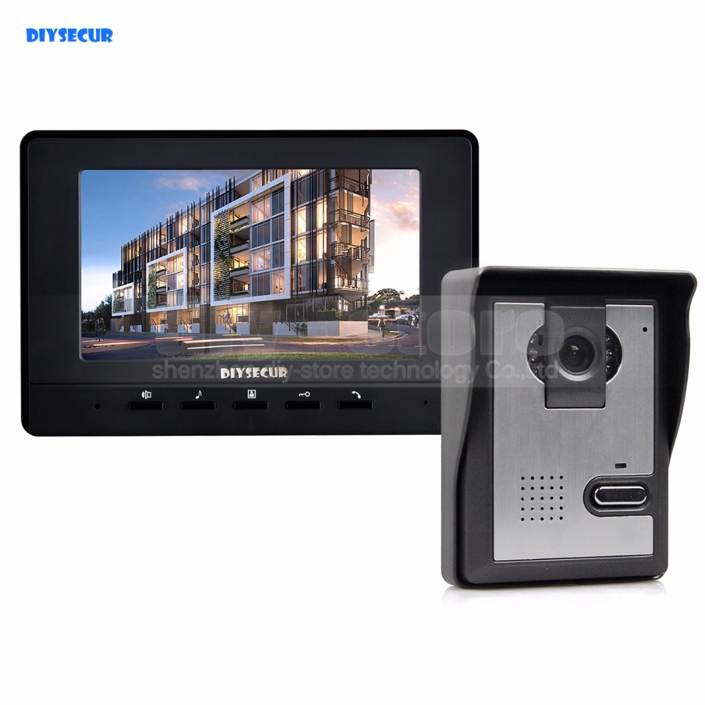 DIYSECUR 7inch Video Intercom Video Door Phone Doorbell 1 Camera 1 Monitor for Home / Office Security System BlackDIYSECUR 7inch Video Intercom Video Door Phone Doorbell 1 Camera 1 Monitor for Home / Office Security System Black