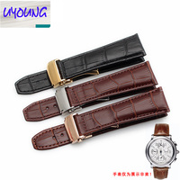 UYOUNG The real leather watch band is used in elegant craftsmanship with a folding buckle with a belt of 20 22m men