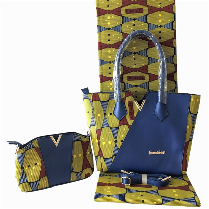 High class African real cotton wax fabric (6yards/lot) and wax bag and purse set for lady FB8-2High class African real cotton wax fabric (6yards/lot) and wax bag and purse set for lady FB8-2