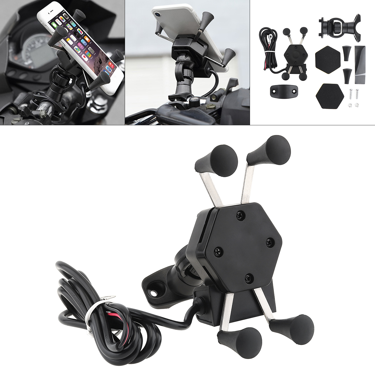 Universal Adjustable Bike Bicycle Motorcycle Mobile Phone Silicone Holder Buckle Pull Nonslip Cellphone  Handlebar Bracket Stand-in Falling Protection from Automobiles & Motorcycles