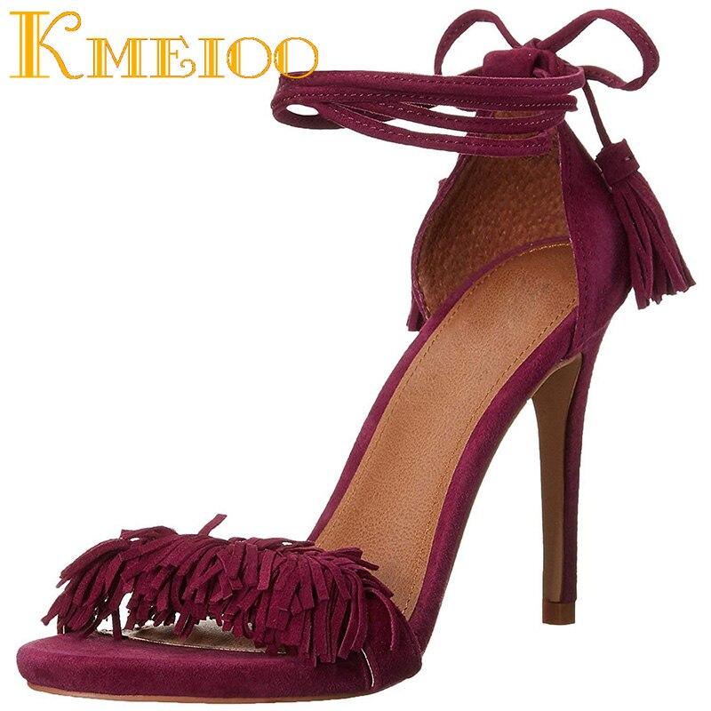 Kmeioo/женские босоножки на высоком каблуке со шнуровкой; обувь с бахромой; обувь с кисточками на шпильке 10 см