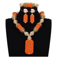 Bridal Dubai Women Jewelry Set Gold Wedding Sets Orange Balls High Quality Indian Jewellery Necklace Set 2018