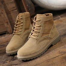 Купить с кэшбэком 2019 Autumn Winter Men Boots Vintage Style Men Shoes Casual Fashion Flock Lace-up Safety Shoes Warm Hombre Work Boots