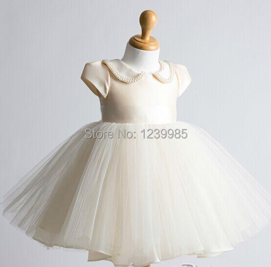 Champagne rústico vestido de niña de flores para bodas poco vestido ...